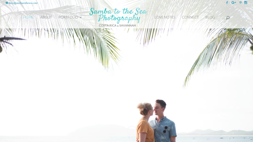 Samba to the Sea photography's new website home page.