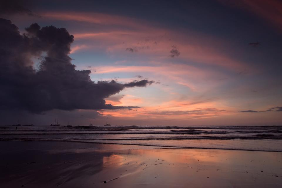Rainy season sunset in Costa RIca. Photographed by Samba to the Sea Photography.