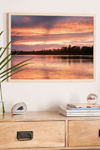 Pink and gold sunset at Delegal Marina at The Landings on Skidaway Island in Savannah, Georgia. Fine art print by Kristen M. Brown, Samba to the Sea.