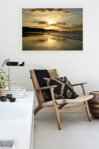 Golden sunset reflecting off the low tide wet sand in Tamarindo, Costa Rica. Fine art print by Kristen M. Brown, Samba to the Sea.