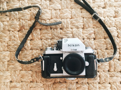 Nikon F camera. Photoagraphed by Kristen M. Brown, Samba to the Sea Photography.