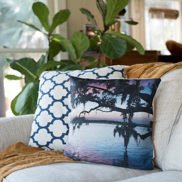 Oak tree sunset accent pillow by Samba to the Sea.