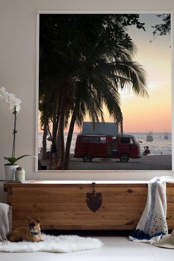 VW Bus parked on the beach during a orange sunset in Tamarindo, Costa Rica. Fine art print by Kristen M. Brown, Samba to the Sea.