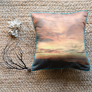 Golden sunset accent pillow by Samba to the Sea.