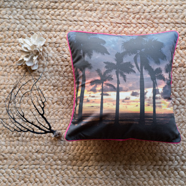Palm tree sunset accent pillow by Samba to the Sea.