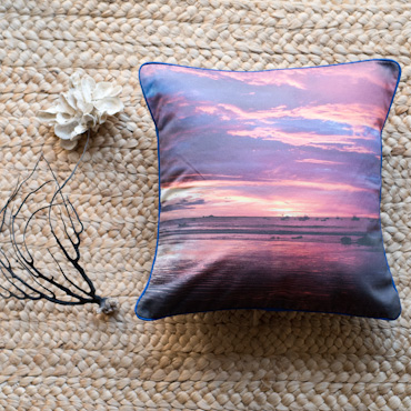 Purple sunset accent pillow by Samba to the Sea.