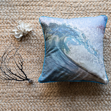 Wave accent pillow by Samba to the Sea.